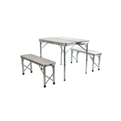 Folding Dining Table Set with Three Chairs for Picnic -Cloudyoutdoor