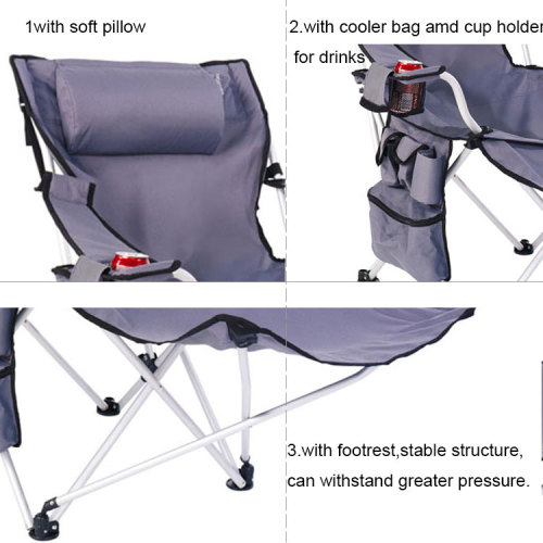 A Folding Reclining Camping ChairLounger with Footrest and Pillow-Cloudyoutdoor