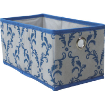 Non-woven folding storage box with one metal ring