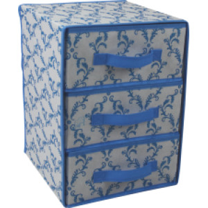 Non-woven folding storage box with 3 drawers