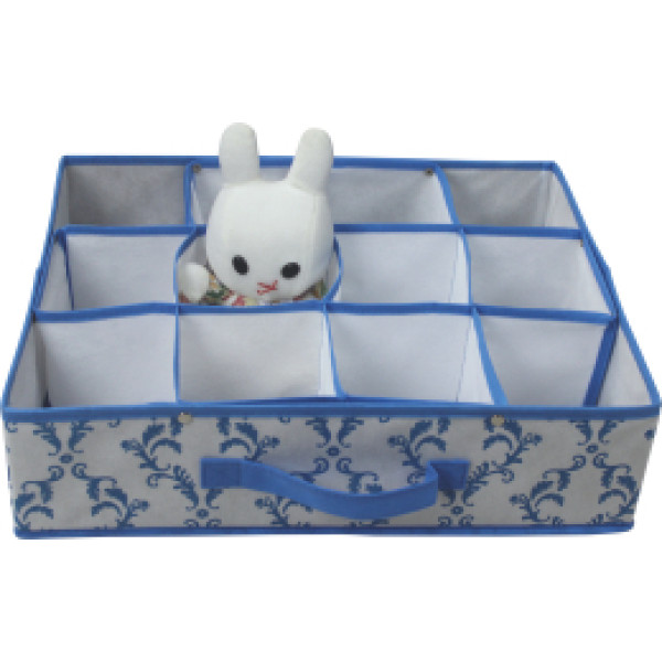 Non-woven folding storage box with 12 compartments