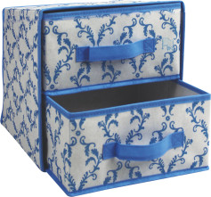 Non-woven folding storage box with 2 drawers