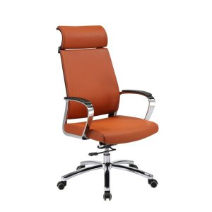 High Back Swivel Office Chair with Headrest, SS Base and Armrest (YF-9605A-1)