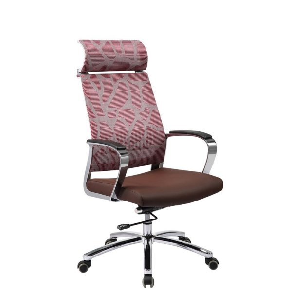 High Back Swivel Office Chair with Headrest, SS Base and Armrest (YF-9605A)