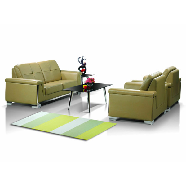 Modern Office Sofa, stainless steel base and frame, sofa fabric available in PU or leather(SF-835)
