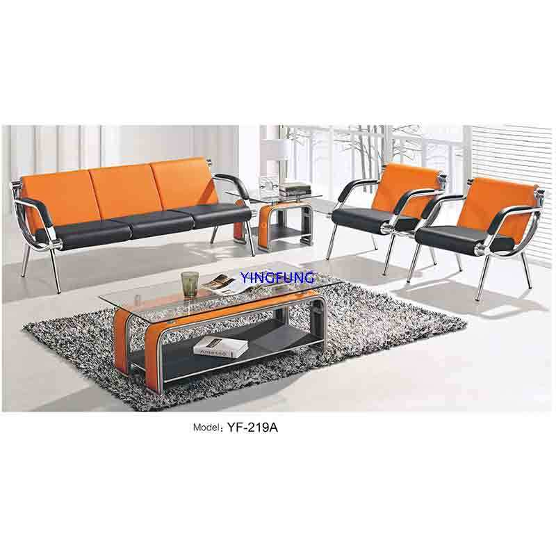 Modern Classic Office Leather Sofa with Stainless Frame