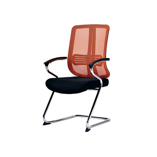 Office Armchair with Upholstered Mesh Fabric Seatback(YF-C110 Red)