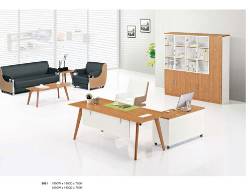 Wholesale modern small office manager desk with wooden texture anti-wear melamine board(YF-D3021)