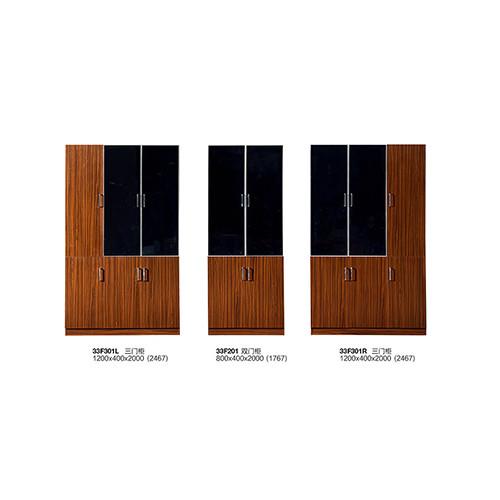 Modern Office 3 Doors Wooden File Cabinet With Glass Door(YF-26F306L)