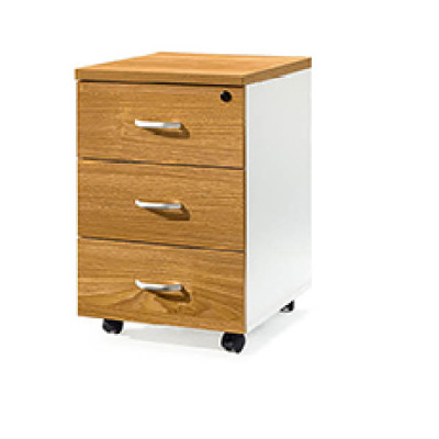 Mobile file storage cabinet with wooden color,three drawers,handle and lock.(YF-18G01)