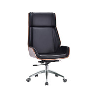 High back Adjustable Rotatable Leather&PU Office Executive Chair with Plastic cover, Chrome base.(YF-D-001)