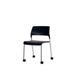 Office Stacking Chair with plastic seat and back, chrome base,with wheels(YF-X04)