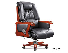 Wholesale executive office chair with wood armrest and base, gas-lift/wheel(YF-A291)