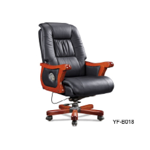 Wholesale Executive office chair with wood armrest and base, gas-lift, PU caster(YF-B018)