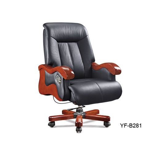 Wholesale Executive office chair with wood armrest and base, gas-lift, PU caster(YF-B281)