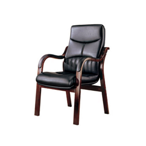 Wholesale black leather wooden visitor chair with armrests and no wheel(YF-215)
