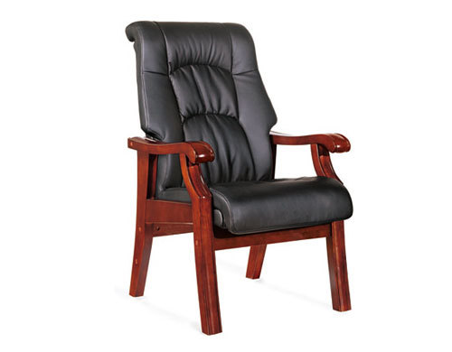 High Back Leather Visitor Chair with four sturdy wood legs (YF-216)