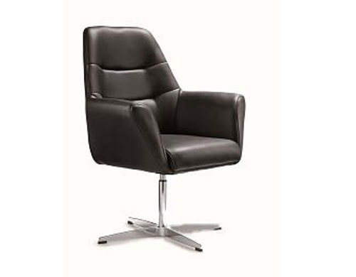 PU Leather Swivel Guest Chair for Reception Area Use
