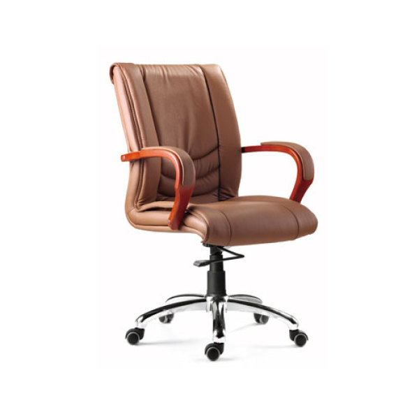 Mid-Back Leather Office Executive Swivel Chair With Aluminum Base(YF-8320)