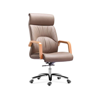 Wholesale leather swivel office chair with PP armrests and aluminum base(YF-9363)