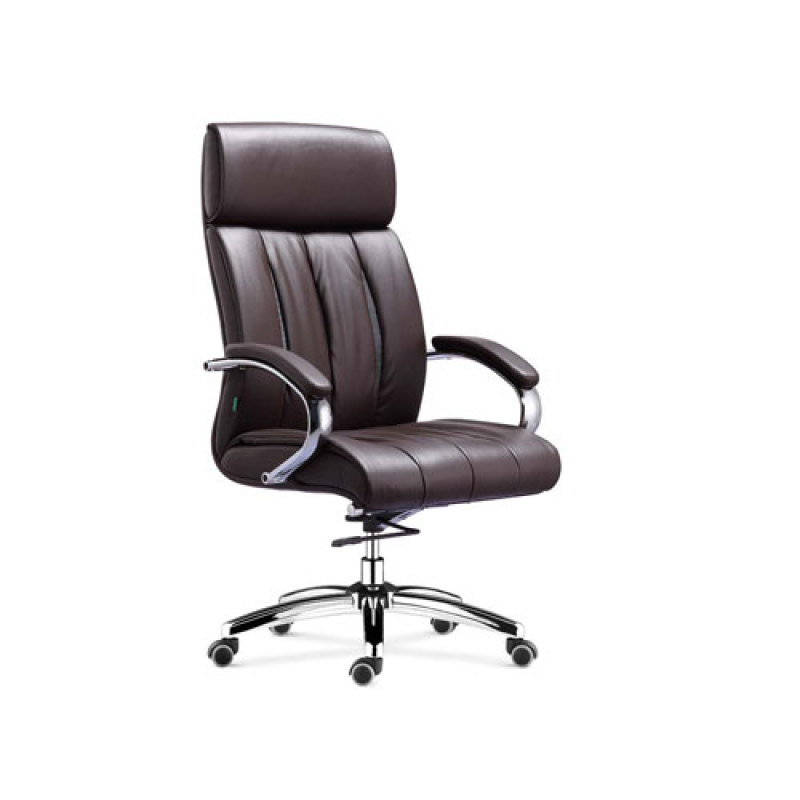 Wholesale leather swivel office chair with chrome base(YF-9373)