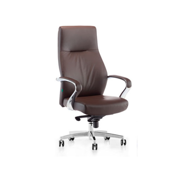 Wholesale High Back Brown PU Leather Office Executive Chair with adjustable height rotating base.