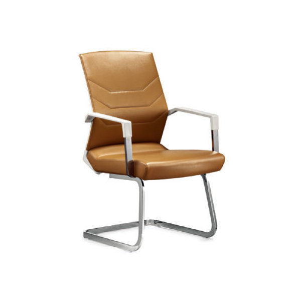 Middle Back Yellow PU Conference Chair with Metal Frame and Armrests(YF-2606B)