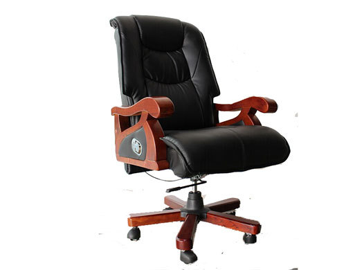 Executive office chair with wood armrest and base, gas-lift, PU caster(YF-9279)