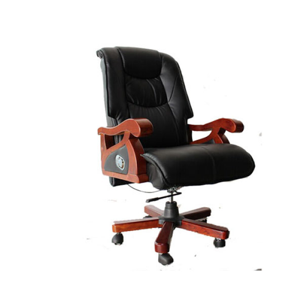 Wooden Frame Executive office chair with wood armrest and base,gas-lift, PU caster(YF-9279)