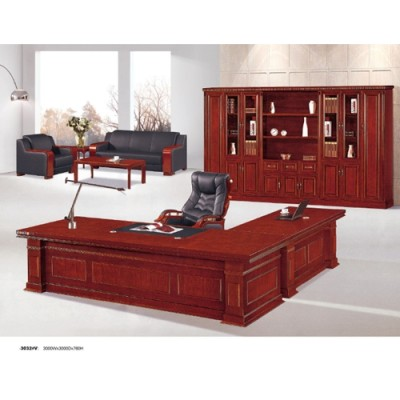 L-Shaped Modern Executive Desk with Vistor Sofa and File Cabinet & Executive Office Table Supplier