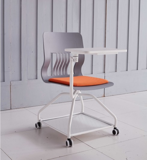 Modern Design Study Chair with Writing Tablet and Castors (YF-01023)