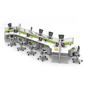 Modern Modular Office 10-Person Workstation Desk and Chair(YF-JM(60)-JM+P-1206)