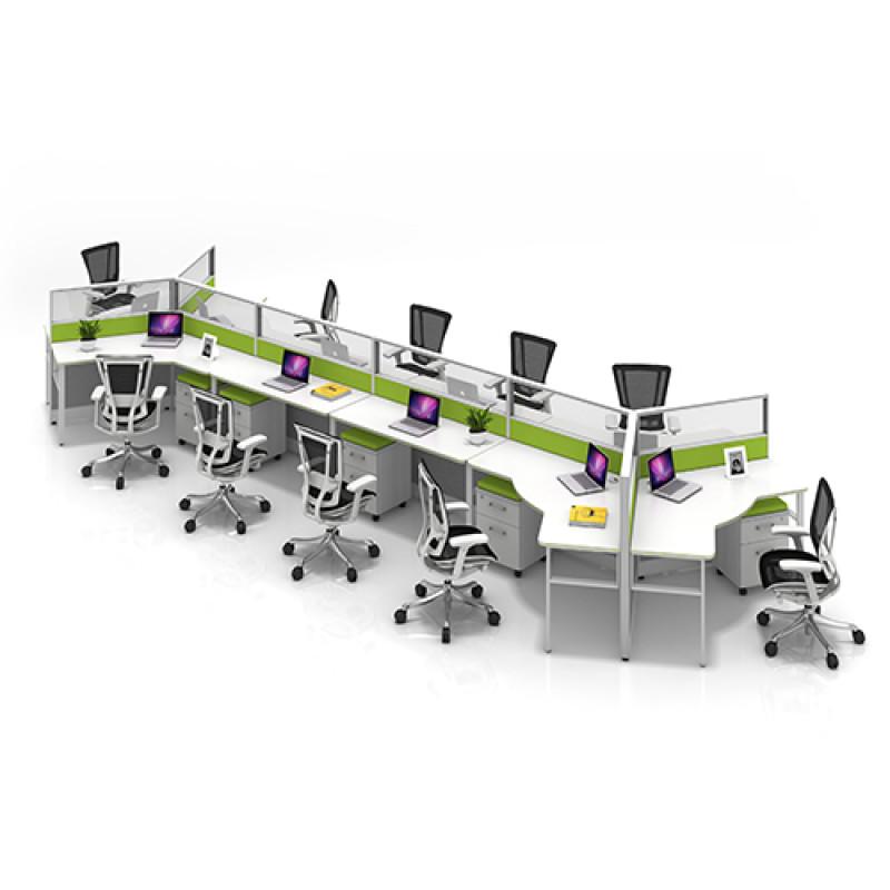 Modern Modular Office 10-Person Workstation Desk and Chair(YF-JM(60)-JM+P-1206)