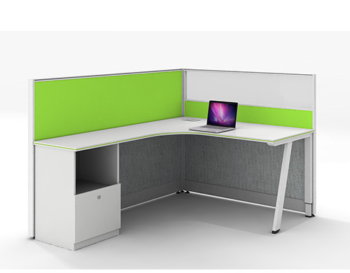 Modern Office Furniture 3-Person Workstation Desks and chairs with File Cabinets