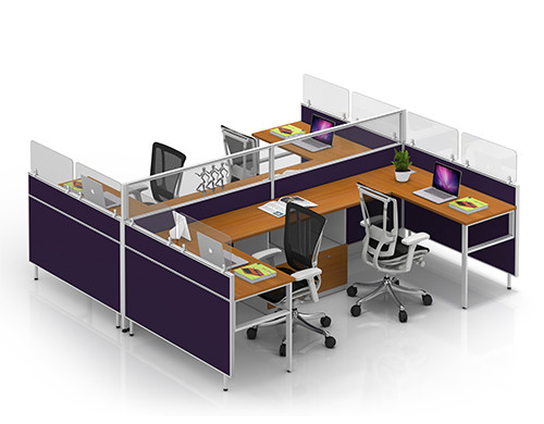 Modular Office Furniture Modern 4-person Workstation Office Desks and Chairs China Supplier