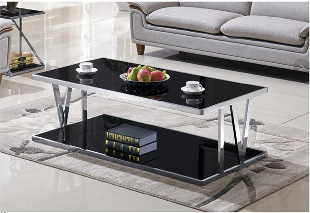 Yingfung Tea Table with stainless steel frame and 10mm tempered glass (YF-17070T)