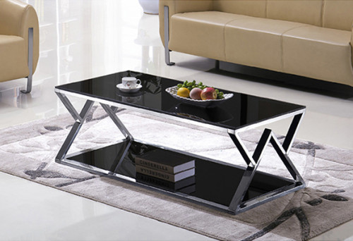 Yingfung Tea Table with stainless steel frame and 10mm tempered glass (YF-17075T)