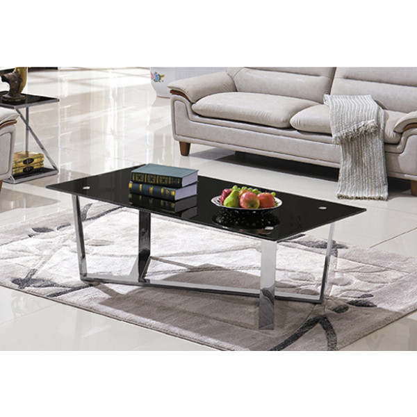 Yingfung Tea Table with stainless steel frame and 10mm tempered glass (YF-17076T)