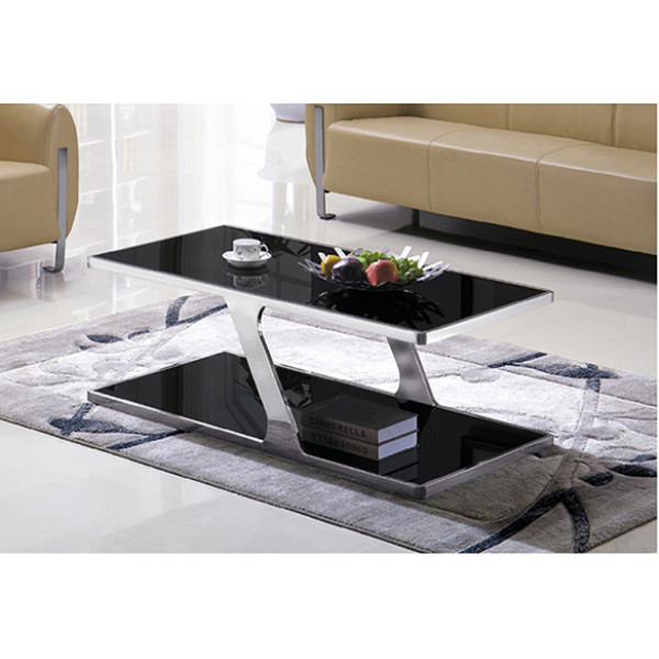 Yingfung Tea Table with stainless steel frame and 10mm tempered glass (YF-17072T)