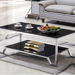 Yingfung Tea Table with stainless steel frame and 10mm tempered glass (YF-17073T)