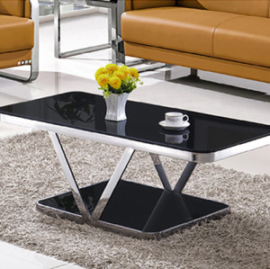 Yingfung Tea Table with stainless steel frame and 10mm tempered glass (YF-17074T)