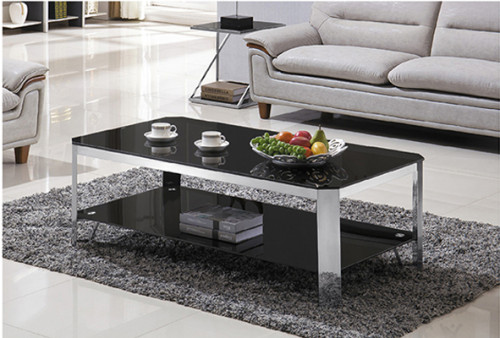 Yingfung Tea Table with stainless steel frame and 10mm tempered glass (YF-17077T)