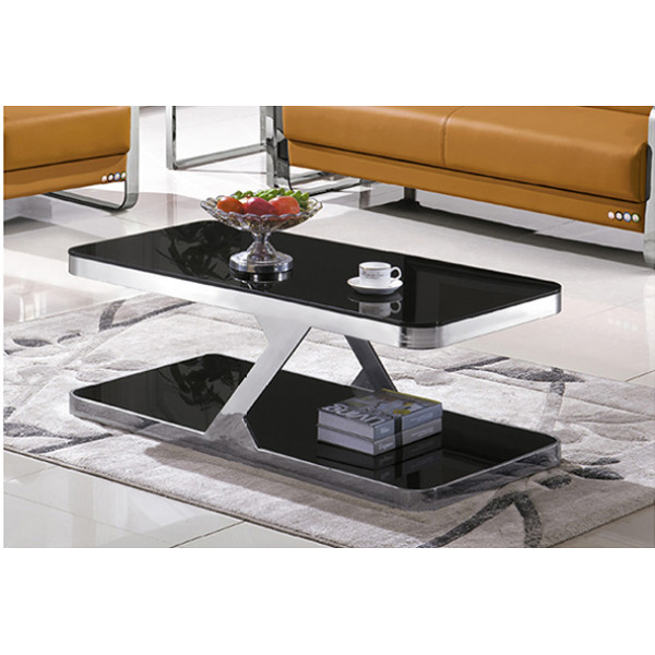 Yingfung Tea Table with stainless steel frame and 10mm tempered glass (YF-17078T)