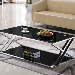 Yingfung Tea Table with stainless steel frame and 10mm tempered glass (YF-17079T)