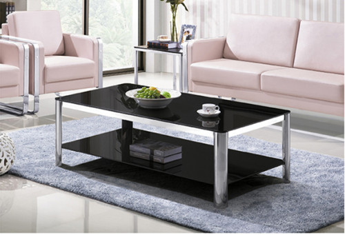 Yingfung Tea Table with stainless steel frame and 10mm tempered glass (YF-17080T)