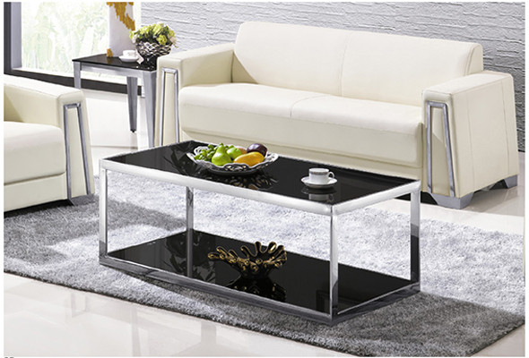 Yingfung Tea Table with stainless steel frame and 10mm tempered glass (YF-17082T)