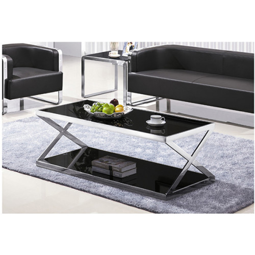 Yingfung Tea Table with stainless steel frame and 10mm tempered glass (YF-17083T)
