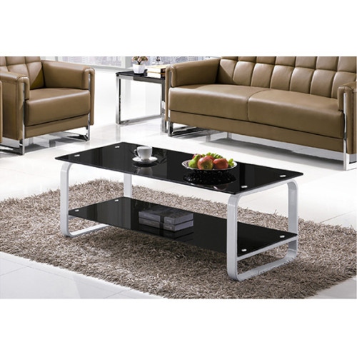 Yingfung Tea Table with White painted iron frame and 10mm tempered glass (YF-17086T)