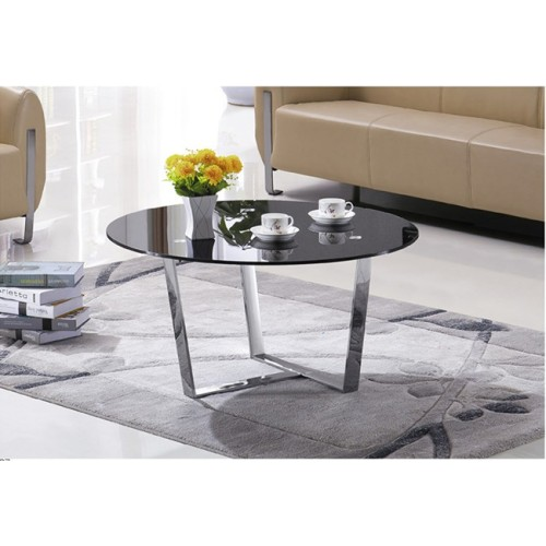Yingfung Tea Table with stainless steel frame and 10mm tempered glass (YF-17084T)
