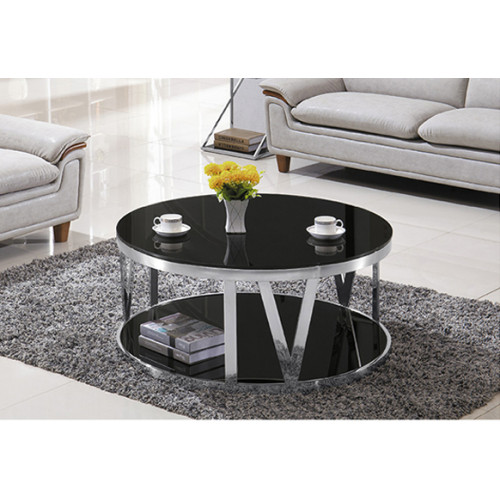 Yingfung Tea Table with stainless steel frame and 10mm tempered glass (YF-17085T)